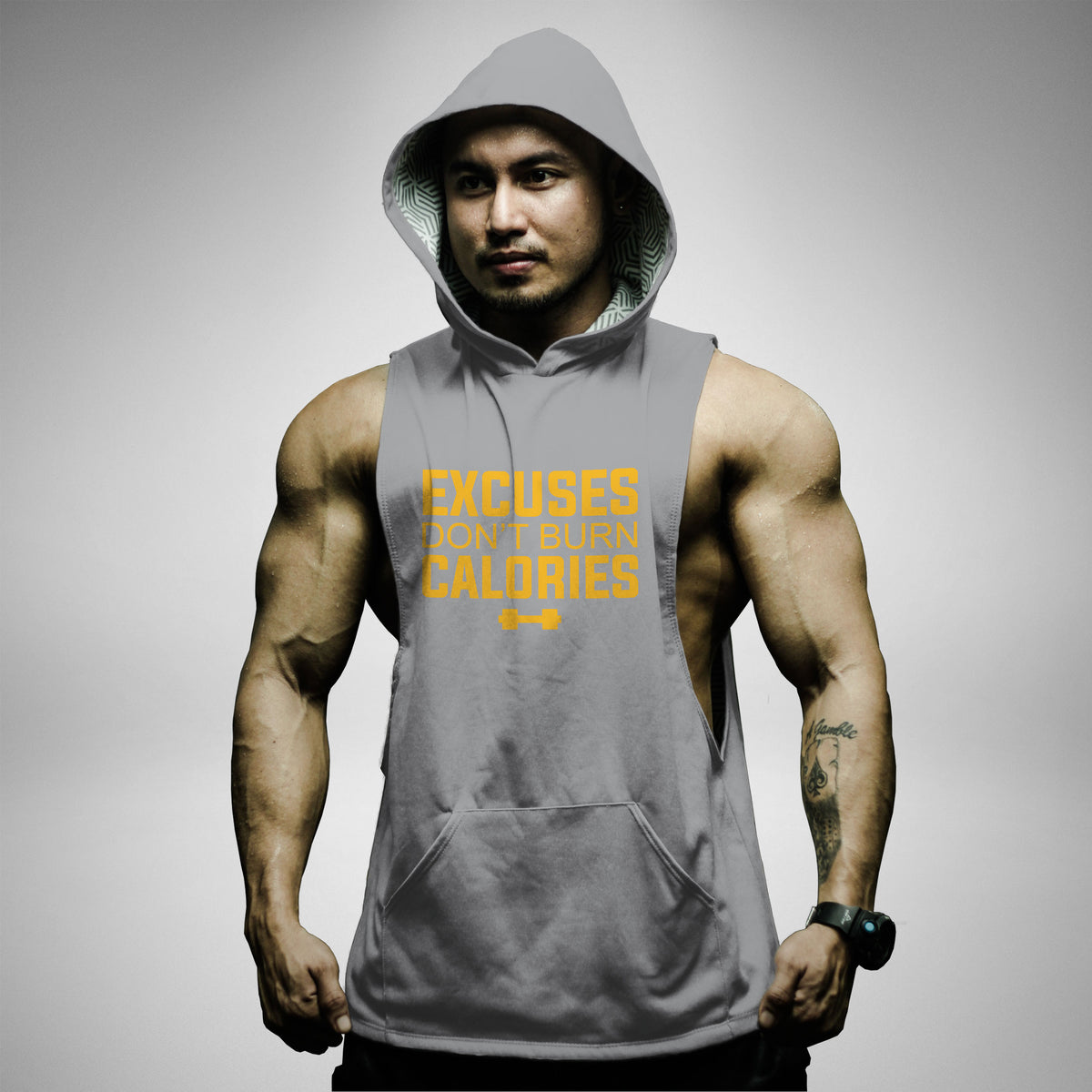 AH116 Excuses Don't Burn Calories Sleeveless Hoodie