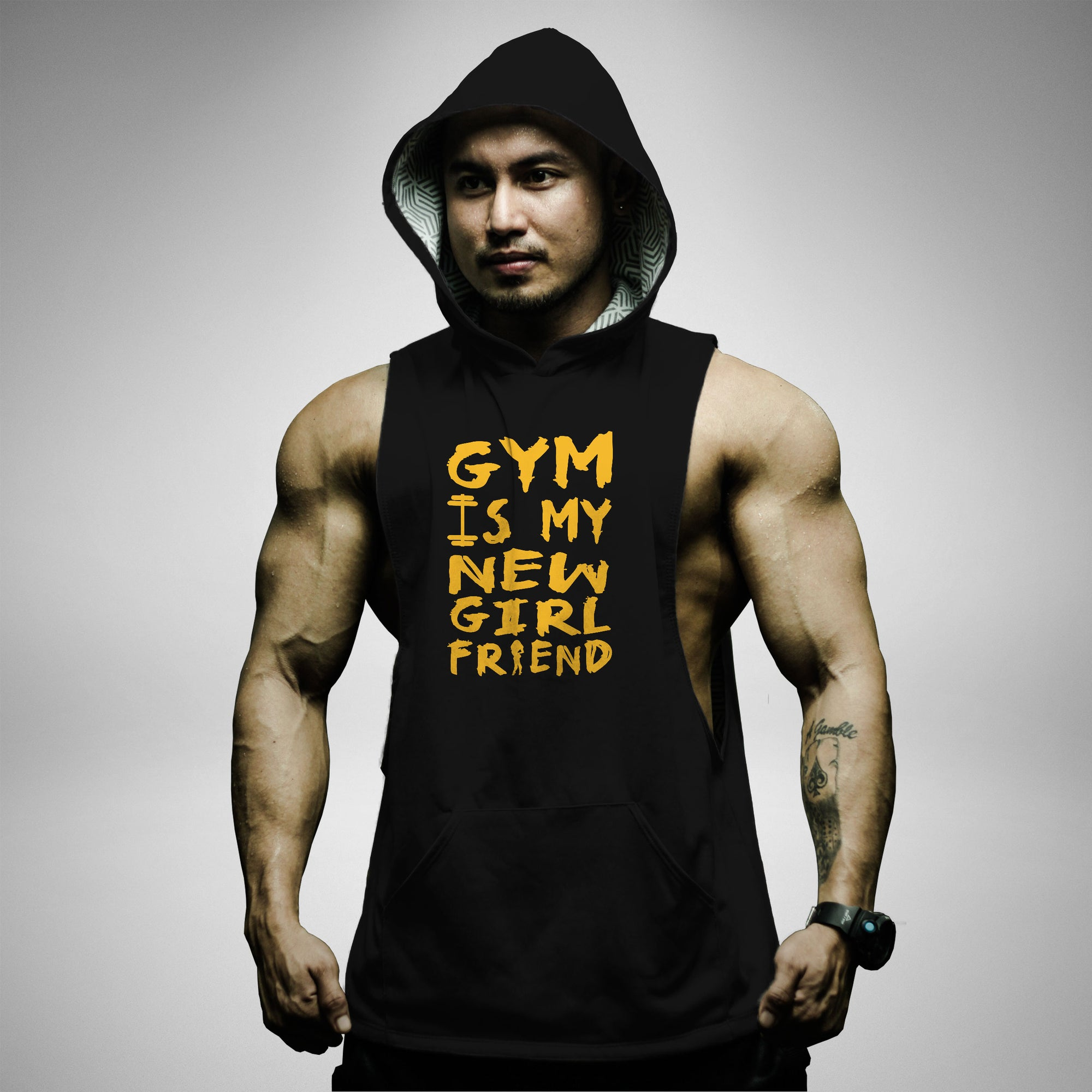 AH117 Gym Is My New Girl Friend Sleeveless Hoodie