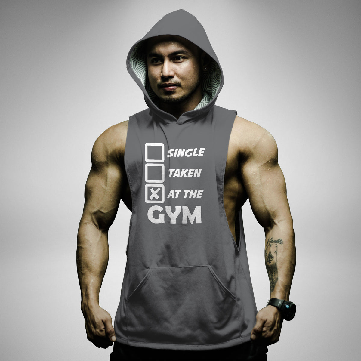 AH120 Single Taken At The Gym Sleeveless Hoodie