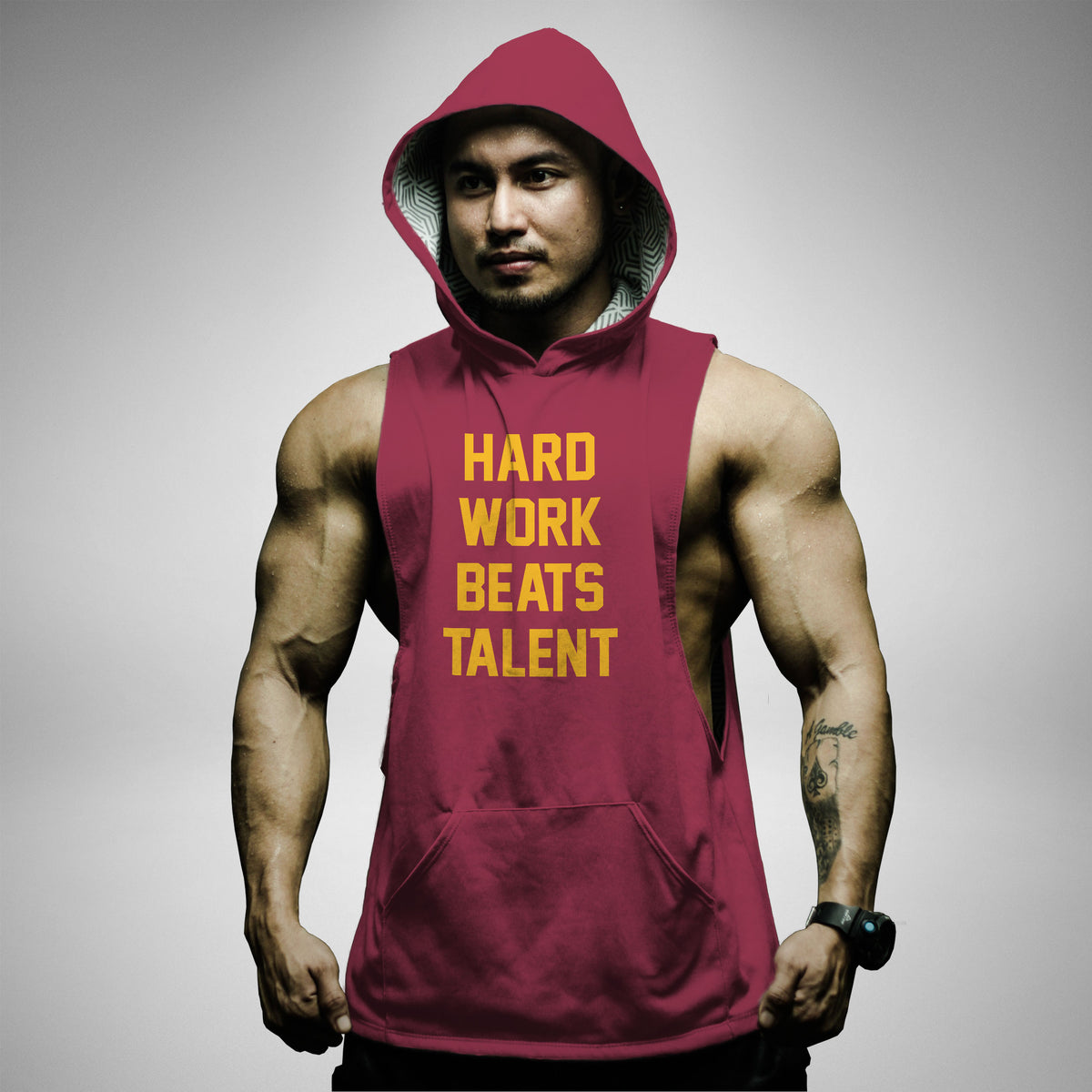 AH121 Hard Work Beats Talent Sleeveless Hoodie