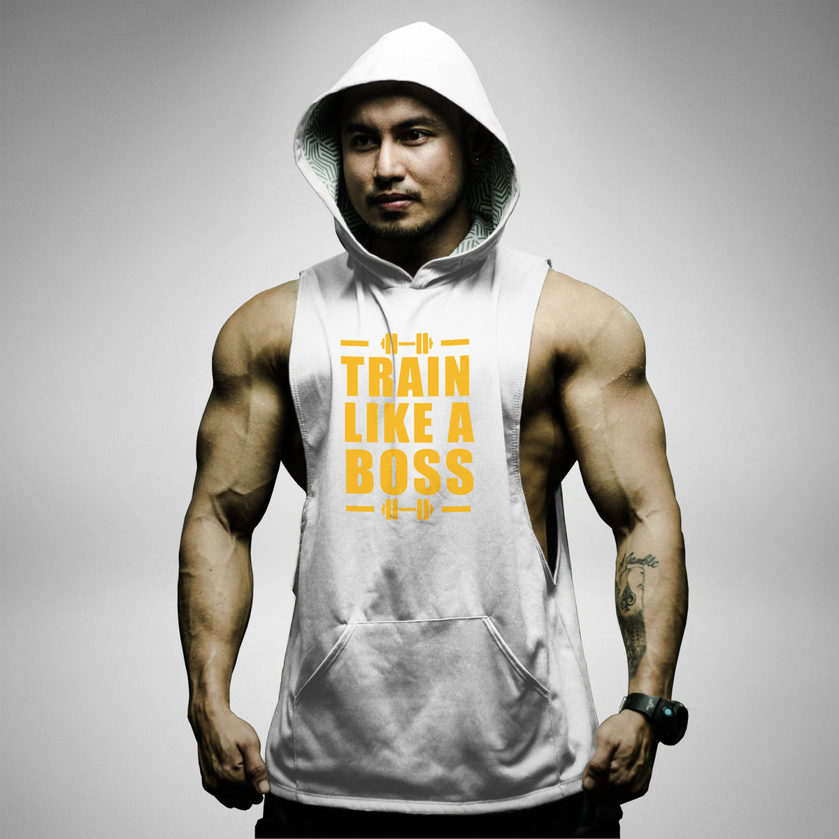 AH122 Train Like A Boss Sleeveless Hoodie