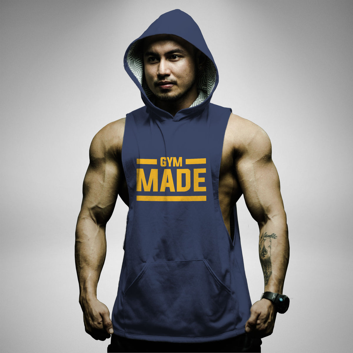 AH127 Gym Made Sleeveless Hoodie