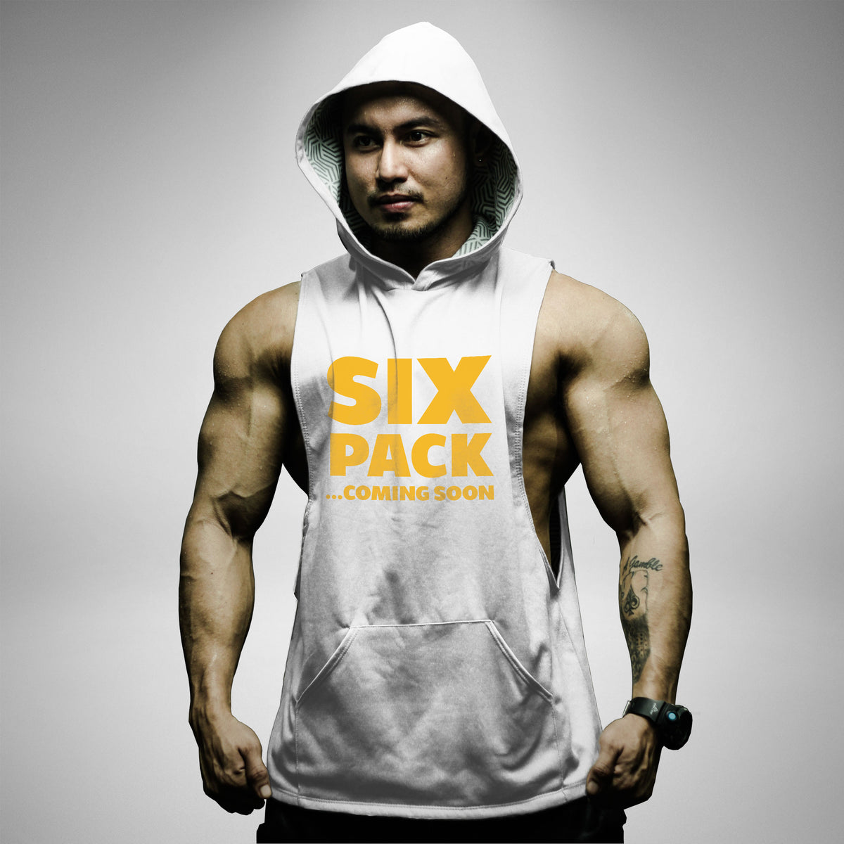 AH128 Six Pack Coming Soon Sleeveless Hoodie