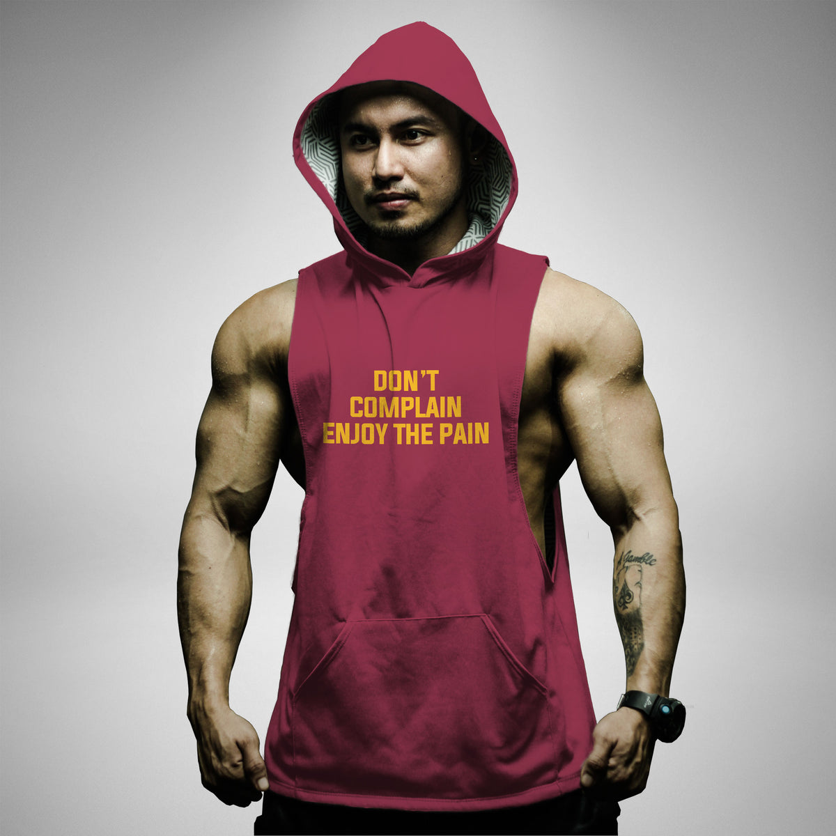 AH134 Don't Complain Enjoy The Pain Sleeveless Hoodie