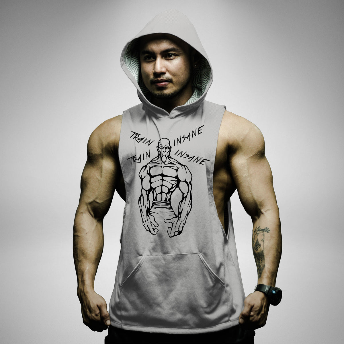 AH159 Train Insane Sleeveless Hoodie