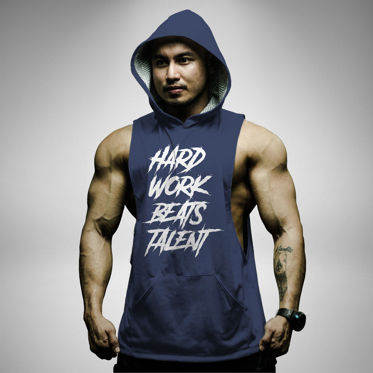 AH161 Hard Work Beats Talent Sleeveless Hoodie