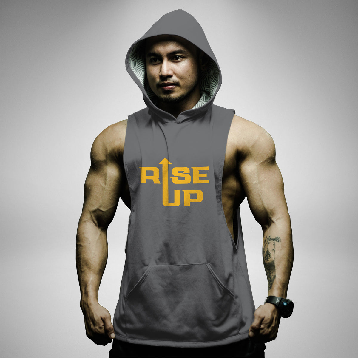 AH162 Rise Up Sleeveless Hoodie