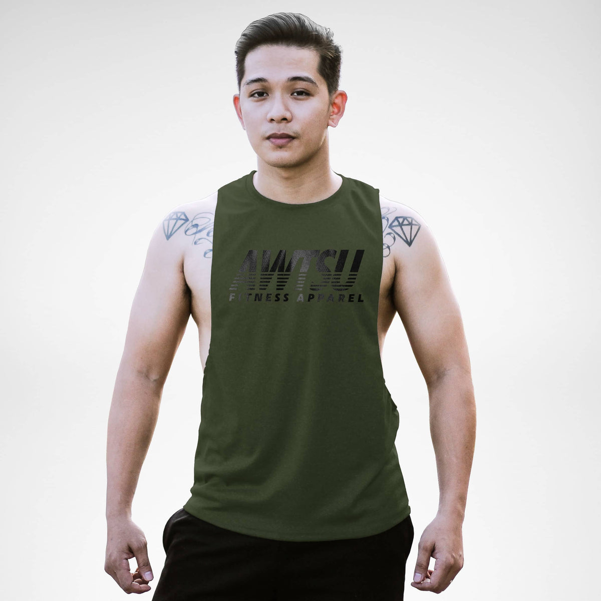 Awtsu Fitness Apparel Staple Stripe Openside Tank Top