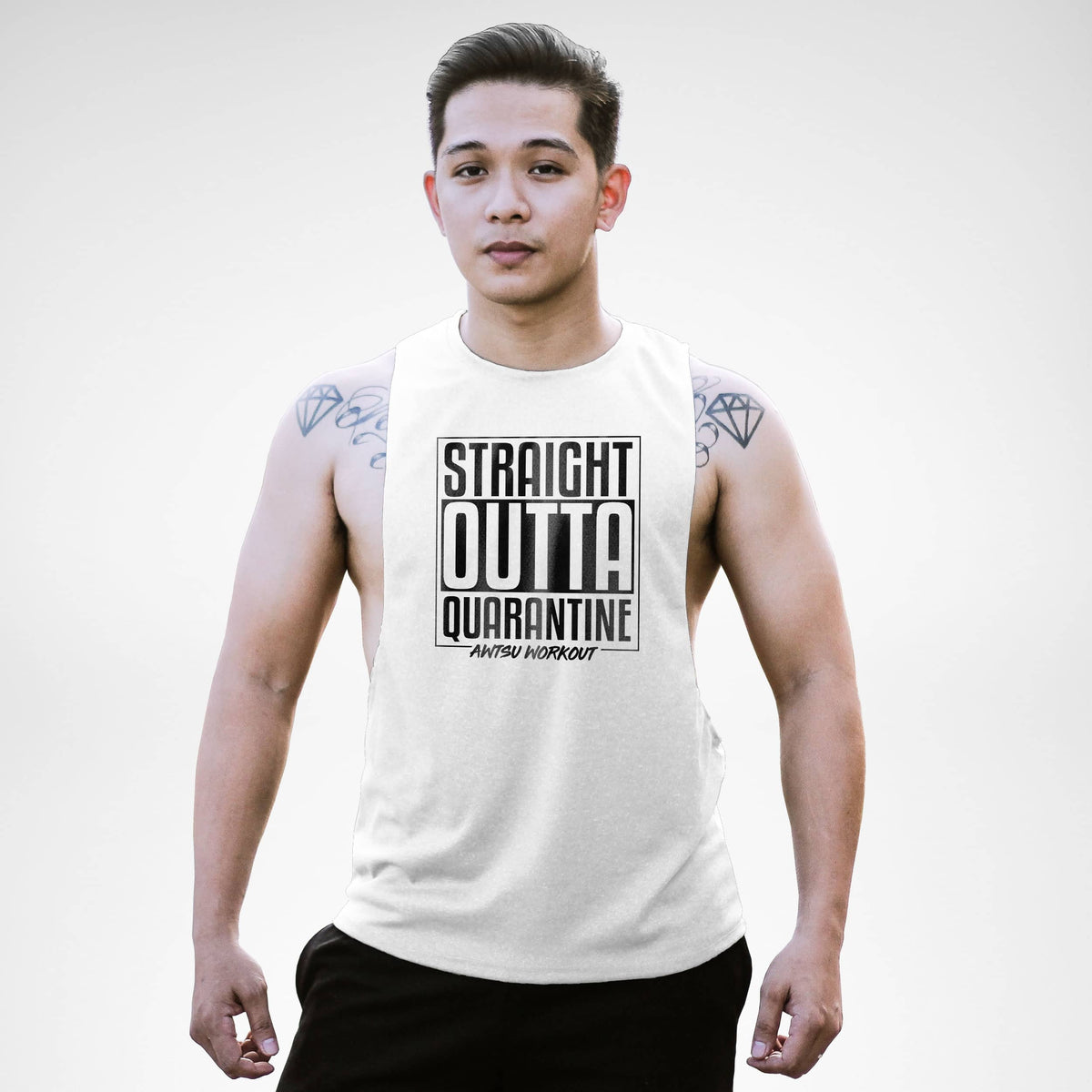 Straight Outta Qūārantine Awtsu Workout Openside Tank Top