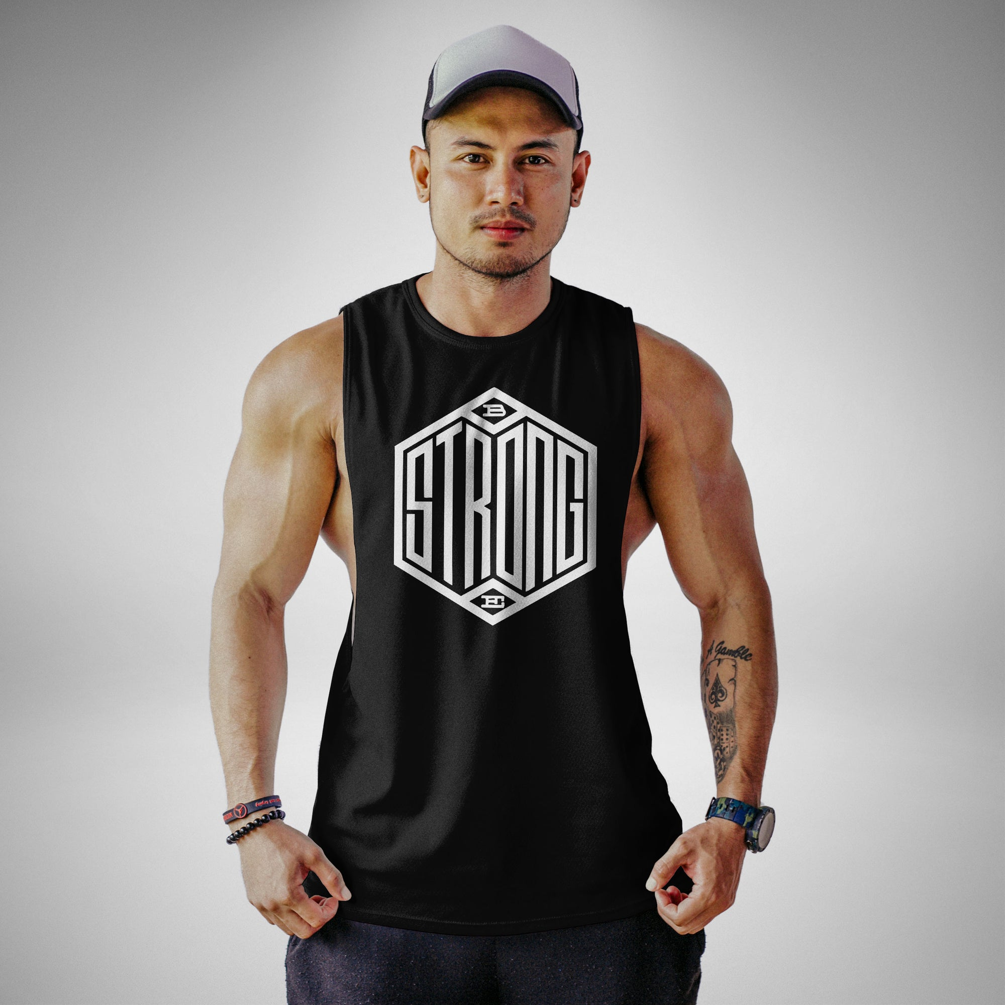 AM104 Be Strong Openside Tank Top