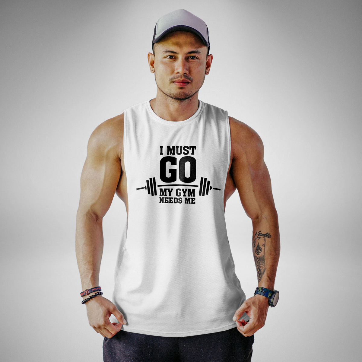 AM115 I Must Go My Gym Needs Me Openside Tank Top