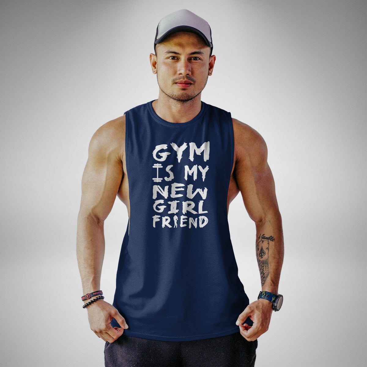 AM117 Gym Is My New Girlfriend Openside Tank Top