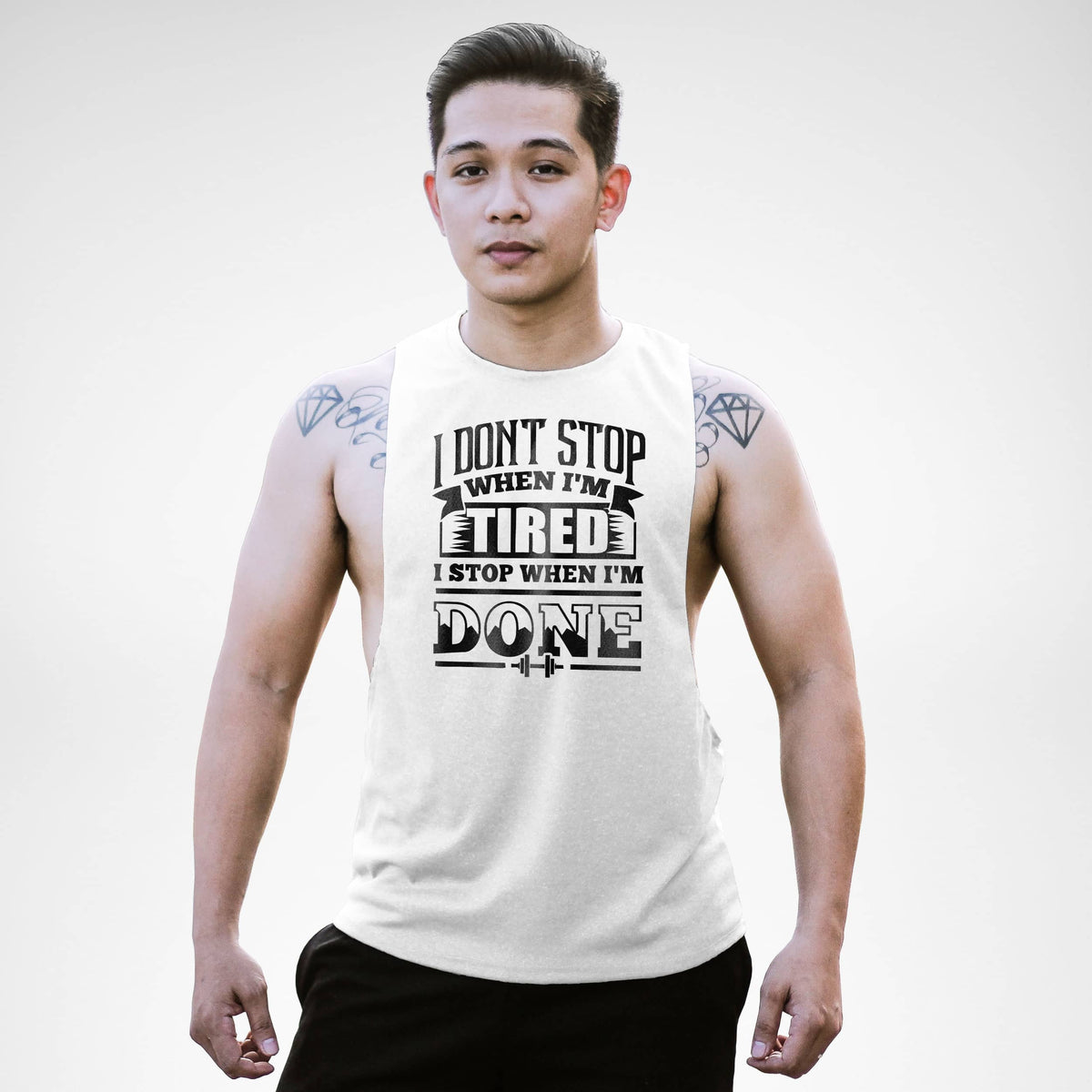 AM124 I Don't Stop When I'm Tired Openside Tank Top