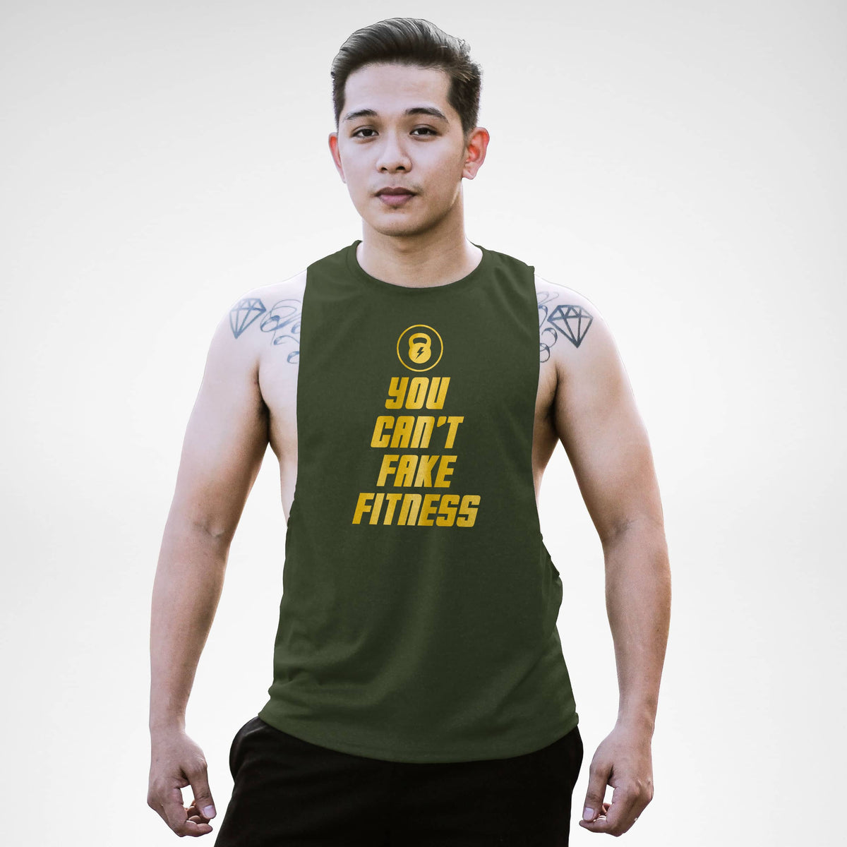 AM132 You Can't Fake Fitness Openside Tank Top