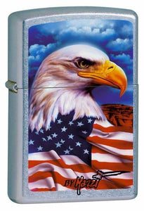POCKET LIGHTER - ZIPPO - LIGHTER CLAUDIO MAZZI, FREEDOM WATCH, USA AMERICAN FLAG, W/EAGLE #24764 - The Fishermans Hut
