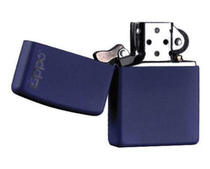 POCKET LIGHTER - ZIPPO - NAVY BLUE MATTE WITH ZIPPO LOGO, GENUINE ZIPPO WINDPROOF LIGHTER #239ZL - The Fishermans Hut