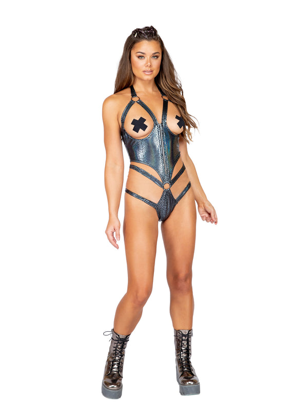 Holographic Slither Corset Bodysuit