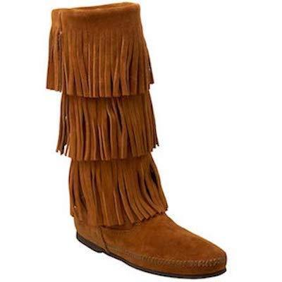 Minnetonka Moccasin 3 Layer Fringe Brown 1632
