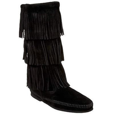 Minnetonka Moccasin 3 Layer Fringe Black 1639