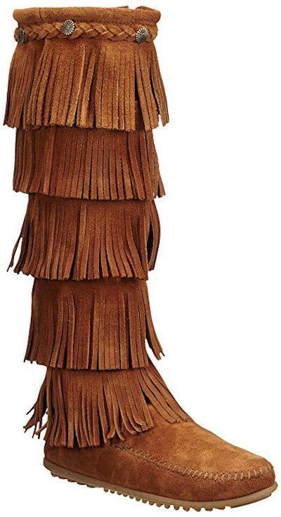 Minnetonka Moccasin 5 Layer Fringe Brown 1652