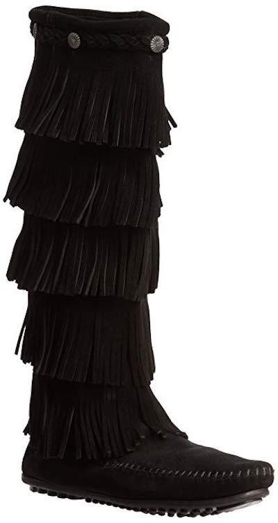 Minnetonka Moccasin 5 Layer Fringe Black 1659