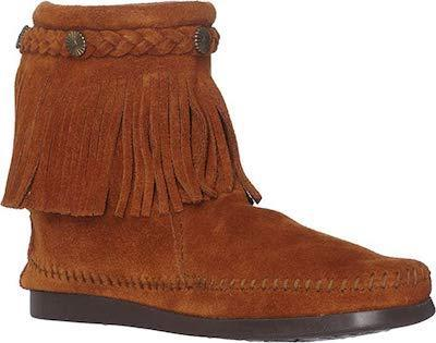 Minnetonka Moccasin High Top Zip Brown 292