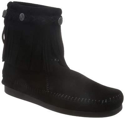 Minnetonka Moccasin High Top Zip Black 299