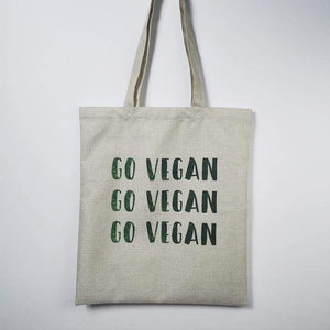 "LARGE ''GO VEGAN"" OUTDOOR BEACH BAG"