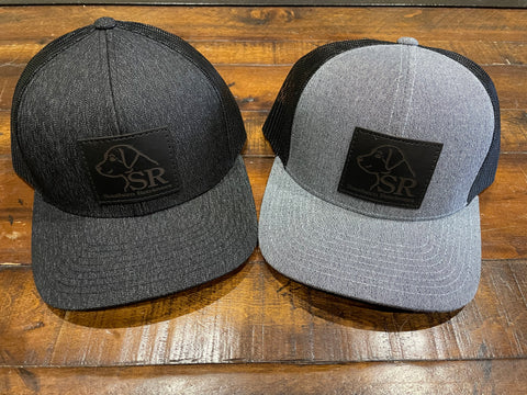 Heather Logo Black Leather Patch Hat