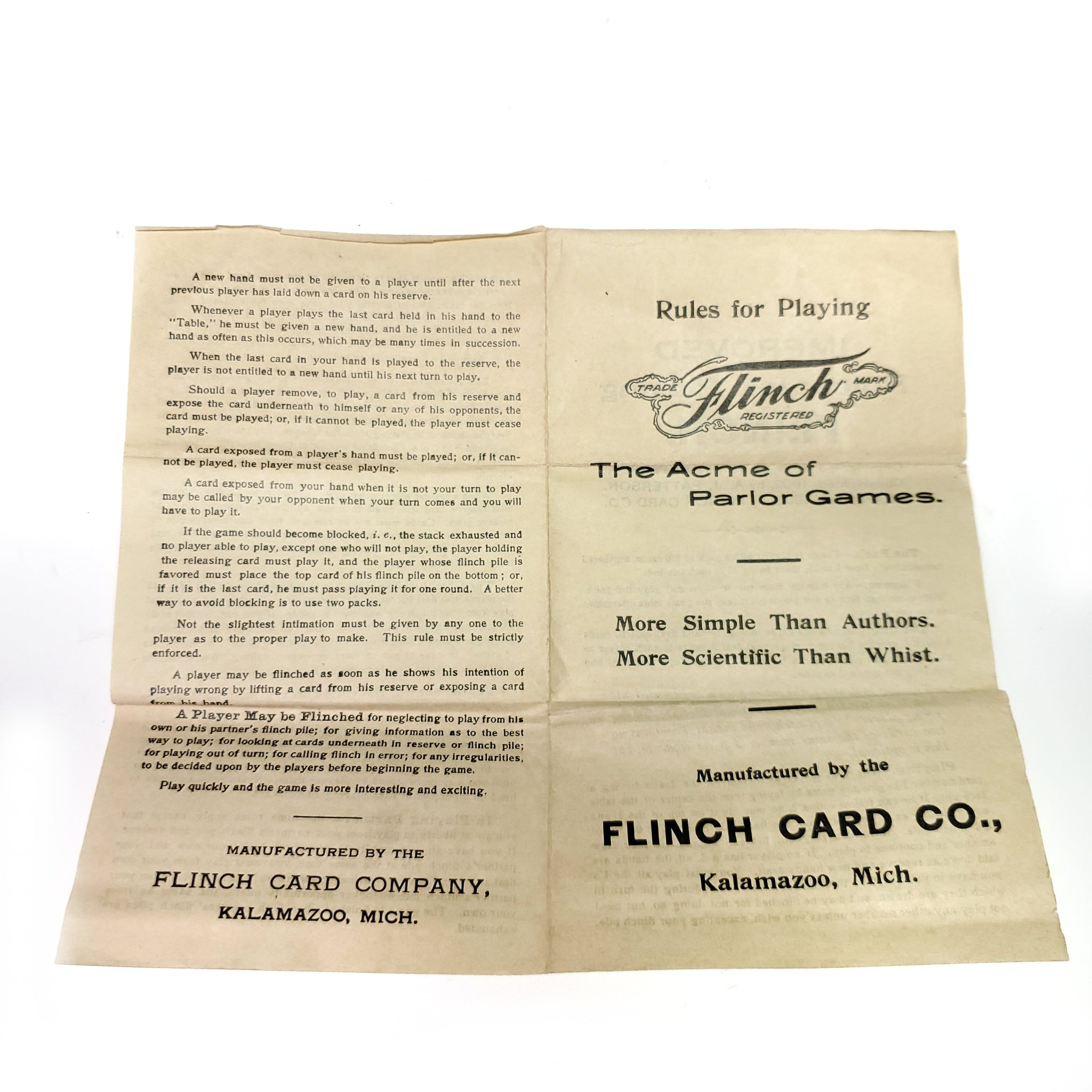 Antique Victorian Flinch Card Game