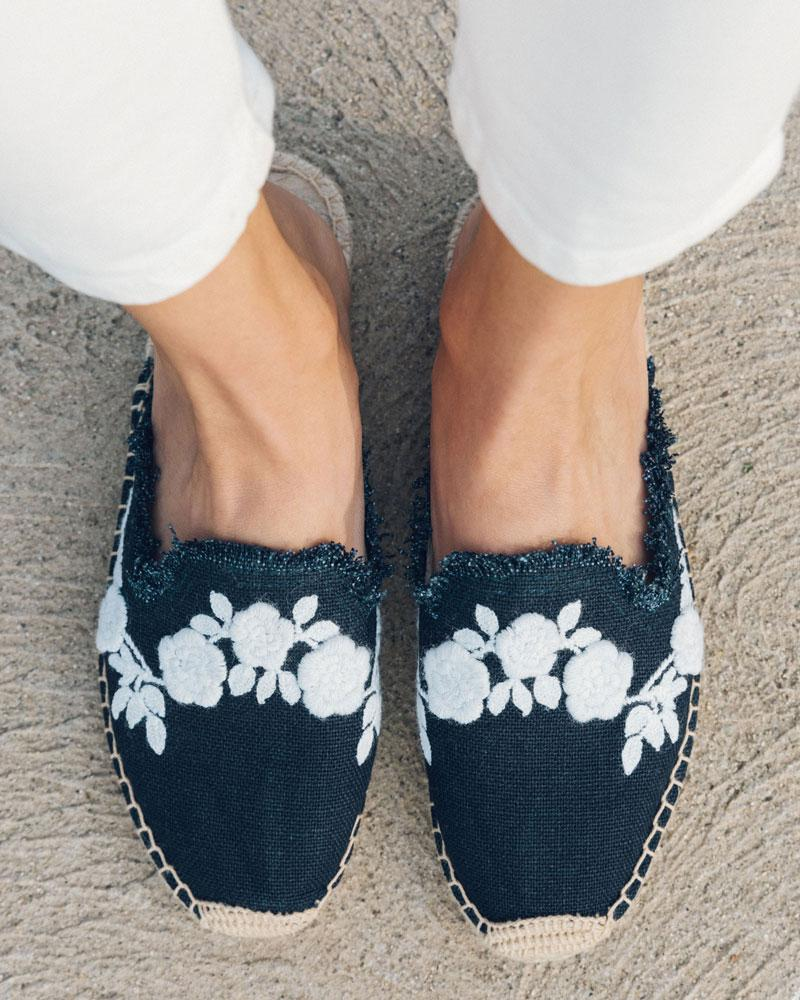 Frayed Floral Mule midnight-blue