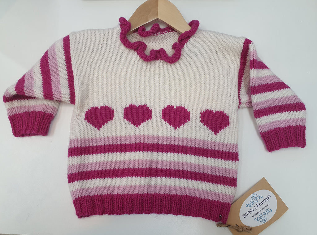 Striped Heart Jumper - 2/3 years