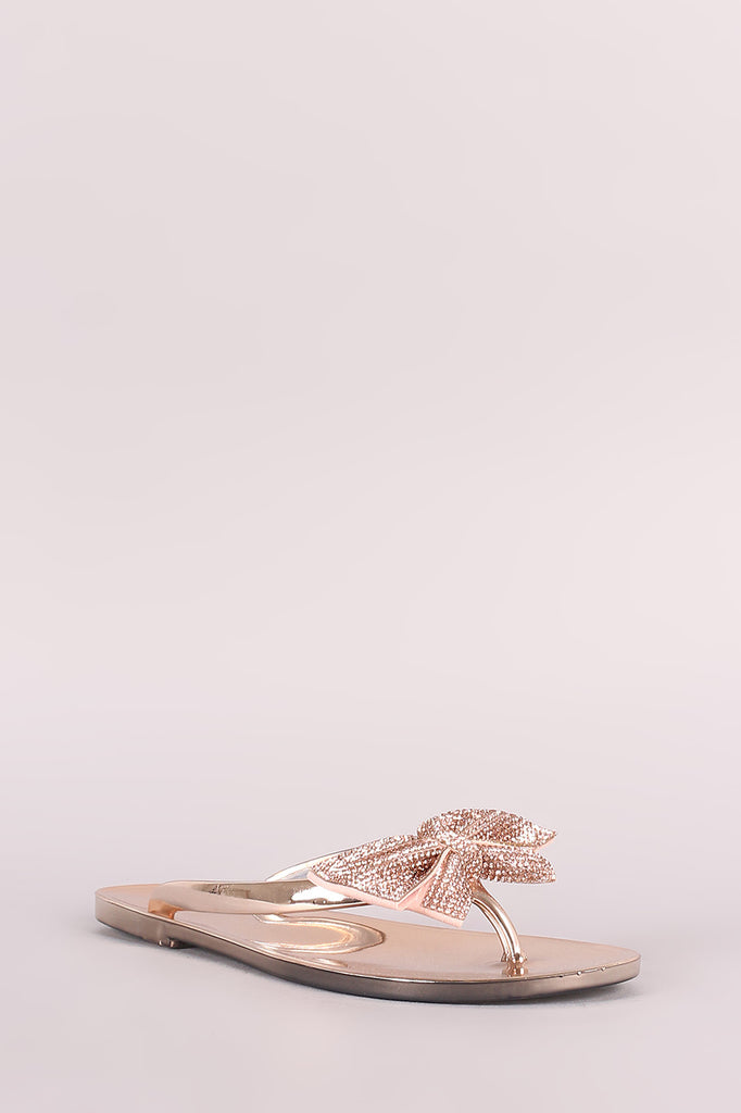 3b572dcacbe92d Liliana Rhinestone Bow Accent Jelly Thong Flat Sandal – Low cost ...