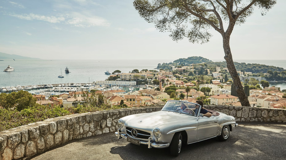 overlooking Cote d'Azur from a vintage car in summer