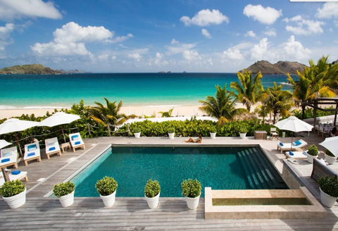 modern outdoor pool at Hotel Cheval Blanc St. Barths Isle de France