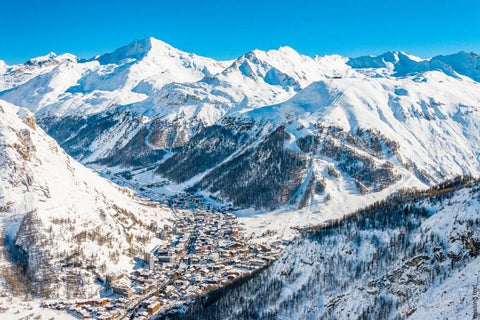 The charming French ski tow of Val d'Isere is surrounded by slopes - it's larger than Whistler Blackcomb, BC, Canada the largest ski resort in North America