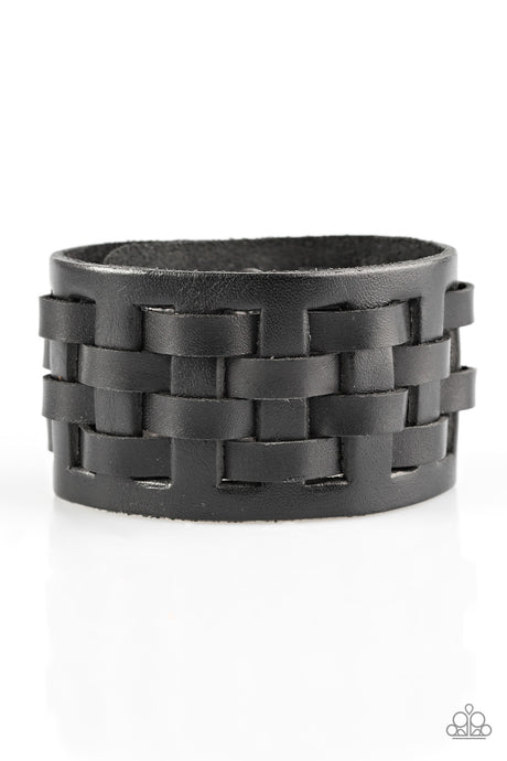 Paparazzi Road Hog - Black Leather Urban Male Bracelet