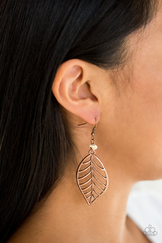 Paparazzi BOUGH Out  Feather Earrings Copper, Brass, and Silver