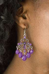 Paparazzi Faceted Bead Earrings Dip It GLOW - Purple