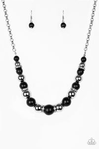 Paparazzi Stone and Rhinestone Necklace The Ruling Class - Black