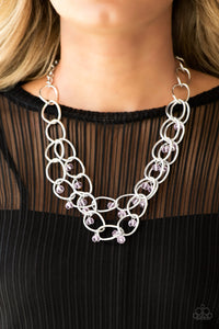 Paparazzi Yacht Tour  Pink - Silver Chain Necklace