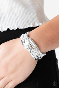 Paparazzi Bracelet Suede Looking For Trouble - Mirrored Braided Suede Wrap