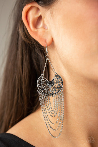 Paparazzi Silver and Black So Social Butterfly - Chandelier Earrings