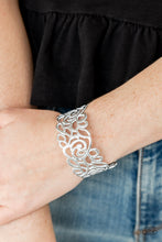 Load image into Gallery viewer, Paparazzi Cuff Silver Victorian Gardens - White