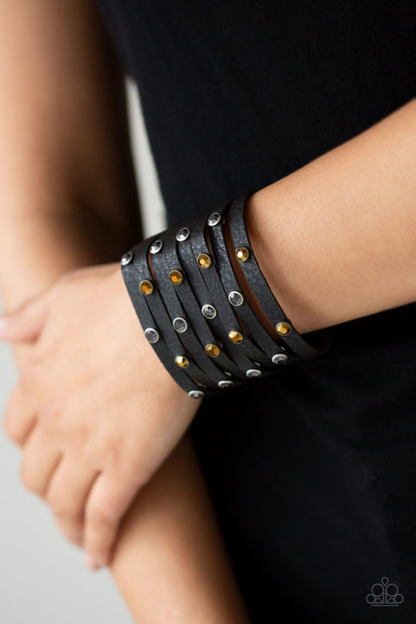 Paparazzi Soft Leather Go-Getter Glamorous - Black Hematite and Topaz Leather Wrap
