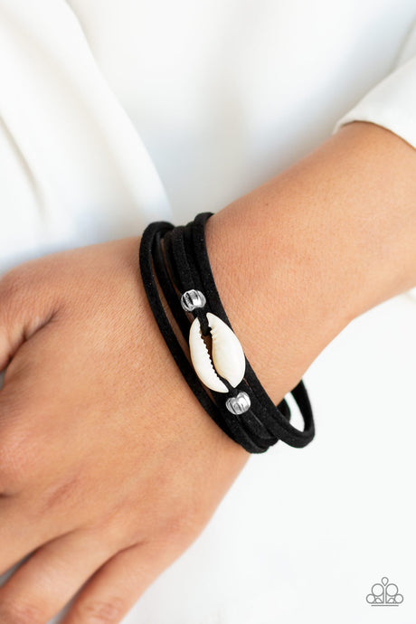 Paparazzi Leather Bracelet  Black /Seashell Vitamin SEA