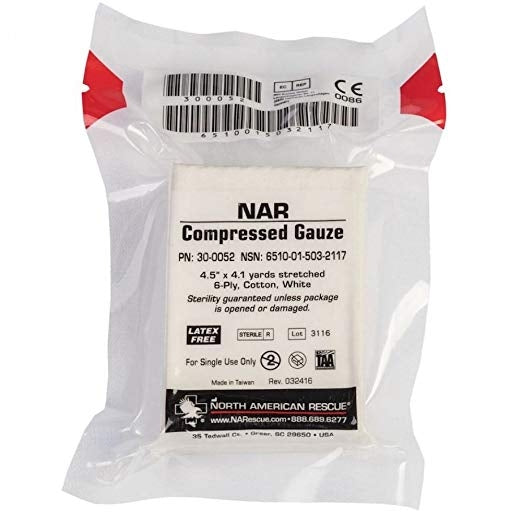 Compressed Gauze by North American Rescue (NSN: 6510-01-503-2117)