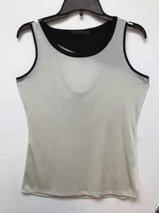 The Limited Sleeveless Top Beige Black Trim - Medium