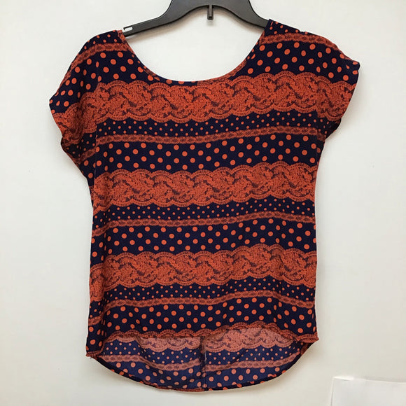 Blue Rain navy blue with coral print size small