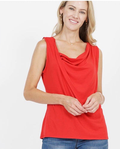 Sleeveless Asymmetric Draping Top - Red